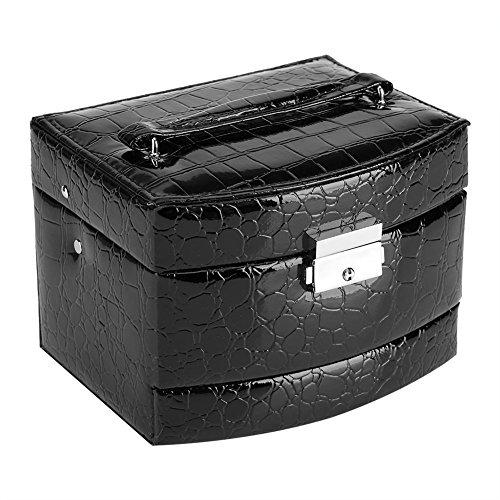 Yosoo 3 strati Jewelry Box con specchio e manico per collane, anelli, regalo, collana, ciondoli, spille Storage Black