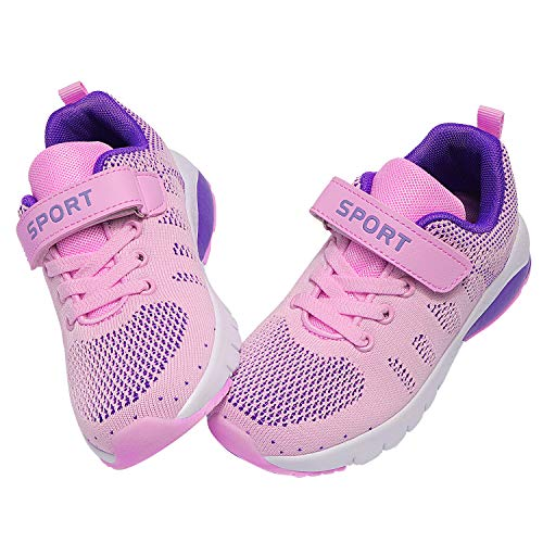 MAYZERO Kids Tennis Shoes Running Sports Shoes Breathable Athletic Shoes Lightweight Walking Shoes Fashion Sneakers for Boys and Girls Pink