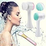 Cepillo de limpieza facial, Cepillo de lavado facial manual de doble cara, Cepillo de limpieza de masaje facial para Exfoliación y Espinilla, 2 piezas