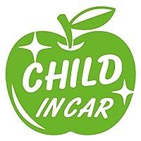 imoninn CHILD in car ステッカー 【シンプル版】 No.63 リンゴ (黄緑色)