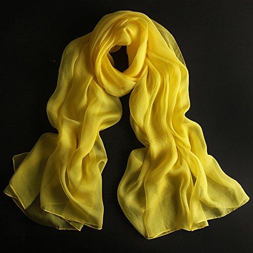 Châles MEIDUO Femme Foulard en soie 100% soie printemps et d'hiver hiver Foulards en soie Rectangle 180 * 110cm (Couleur : Le jaune)