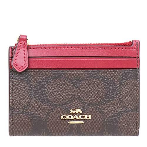 [コーチ] COACH 財布(コインケース) F88208 ブラウン×トゥルーレッド シグネチャー ミニ ID キーリング スキニー 2 レディース [アウトレット品] [ブランド] [並行輸入品]