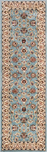 Well Woven Barclay Sarouk Light Blue Traditional Area Rug 2'7'' X 9'6'' Runner