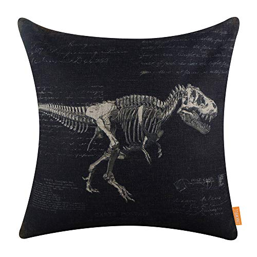 LINKWELL Vintage Dinosaurs Pillow Cover 18x18 inch Decorative Cushion Case Accent Home Decoration Printed Black CC1661
