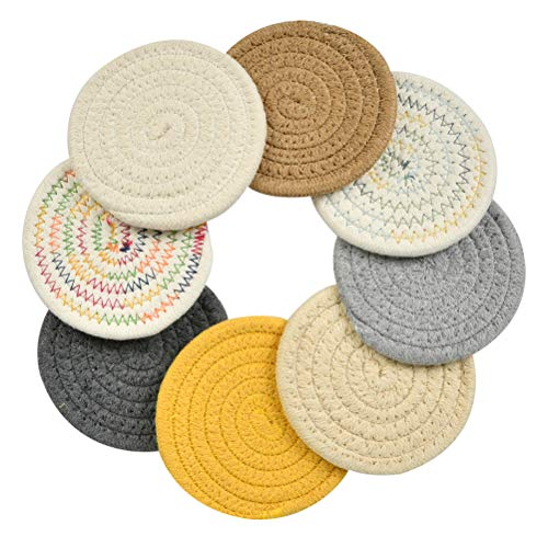 BUYGOO 8Pcs Braided Cup Coasters, Cotton Round Woven Cute Coasters Drink Absorbent Woven Coasters - Super Absorbent Heat-Resistant Thicken Non-Slip Braided Coasters for Drinks, Great Housewarming Gift