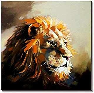 3Hdeko - Lion Painting Animal Pictures Wall Art for Bedroom Living Room Office Decor, Hand Painted Wildlife Oil Painting on Canvas, Ready to Hang (30x30inch)