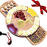 iBambooMart Cheese Board with Cutlery Set, Wooden Bamboo Charcuterie Platter & Serving Meat Board w/Drawer, 4 Knife and Server Set, Perfect for Christmas, Birthday, Housewarming, Wedding Gifts