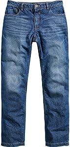 Spirit Motors Jeans de Motocicleta Pantalones de Motocicleta Vaqueros de Hombre con función Protectora, Bolsillos Protectores de Rodilla, Vaqueros de aramida/algodón Resistentes a la abrasión