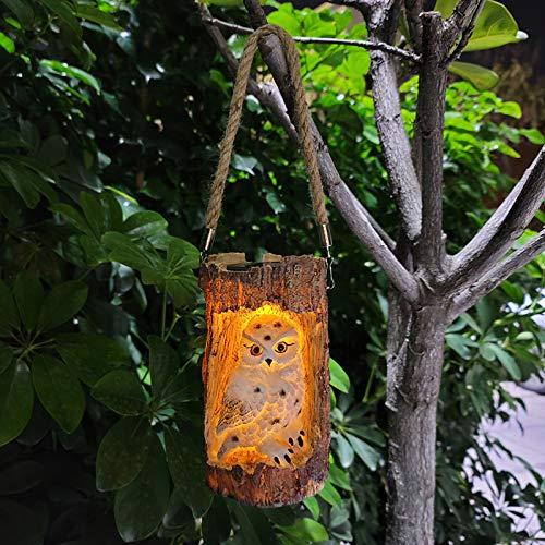 Verdelif Luz de búho colgante, 300 mAh Linterna de búho solar Estatuillas de búho de jardín con energía solar Luces de paisaje Decorativas en forma de tocón - blanco