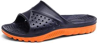 Men's Shoes-Pool Slides for Men Indoor Slippers Slip On Plastic EVA Soles Lightweight Soft Cushioning Solid Color Vegan Youth Trendy Leisure (Color : Dark-blue, Size : 49 EU)