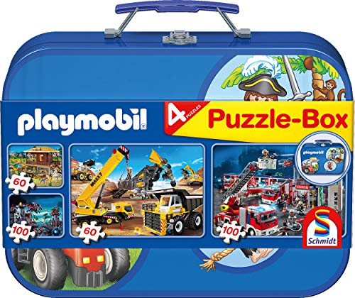 Schmidt Games puzzel 56509 - Bibi en Tina, in metalen koffer Playmobil Box blauw multicolor