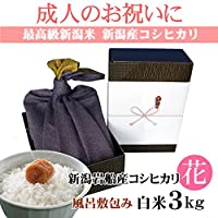 【成人式のお祝い・成人内祝い】お祝いに贈る新潟米(風呂敷包み)新潟岩船産コシヒカリ 3キロ