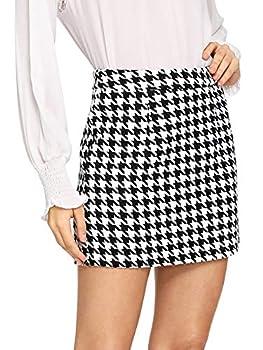 WDIRARA Women s Mid Waist Houndstooth Bodycon Mini Skirt Black and White M