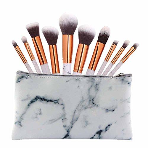 SMILEQ 9 Stücke Marmor Kosmetik Make-Up Pinsel Rouge Lidschatten Pinsel Set Kit (10Pcs Brush +1pcs...