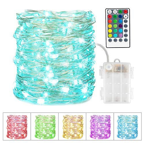 16 Color Changing Fairy Lights, Battery Operated Twinkle Lights with Remote & 8 Light Modes Waterproof 3AA Battery Case, String Lights for Bedroom Wedding Party Christmas Halloween, 33Ft 100LEDs