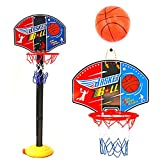 Toddler Basketball Hoop Stand, Adjustable Height 2.5 ft -5.1 ft Mini Indoor Basketball Goal Toy for Boys Girls Outdoor Play Sport for Age 2 3 4 5 Years Old