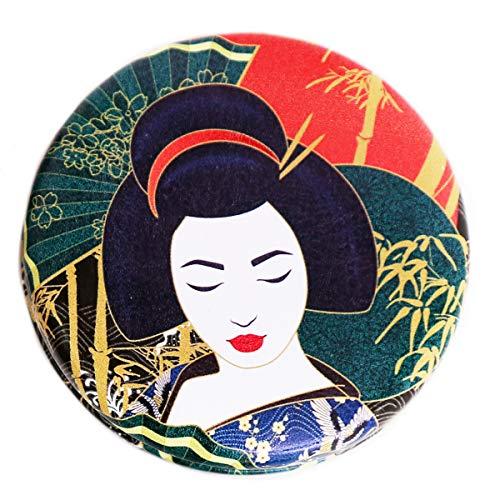 Les Trésors De Lily [R0843] - Miroir Créateur 'Geisha' rouge vert - 7x2 cm