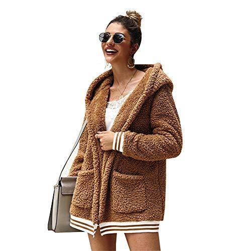 SMTM Damska kurtka z kapturem, futrzany płaszcz, długi top, wełniany sweter, płaszcz, bluza z kapturem, sweter z dzianiny.