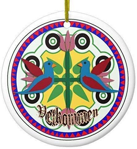 Mesllings Double Bird Hex Sign Ceramic Ornament Circle 3 Inches