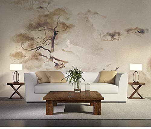 TV achtergrond behang Chinese inkt berg bos behang Zen thee huis slaapkamer woonkamer tv achtergrond behang behang woonkamer voor slaapkamer (W)430cm×(h)300cm