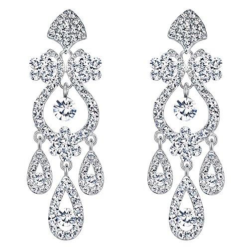 EVER FAITH® österreichischen Kristall Vintage Style Kronleuchter Braut Ohrring klar
