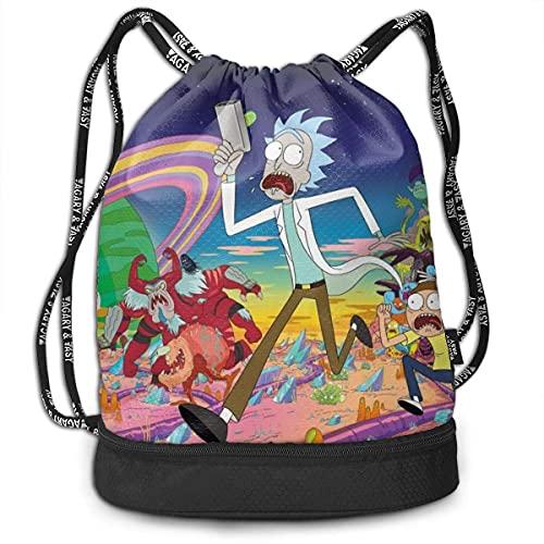 KINGAM Cartoon Rick Morty Bolsas con cordón para gimnasio  mochila deportiva  impermeable
