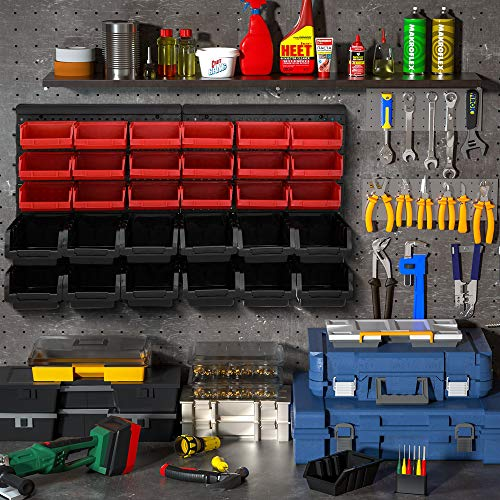 Deuba® Wandregal + Stapelboxen ✔ 32 tlg Box ✔ extra starke Wandplatten ✔ Regal erweiterbar ✔ Werkstattregal Lagerregal Werkstattwandregal Steckregal - 2