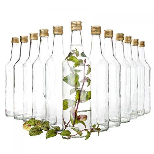 Van Well Set van 12 glazen flessen met schroefsluiting Venezia | vulbare fles 1L voor likeur, jenever & bier