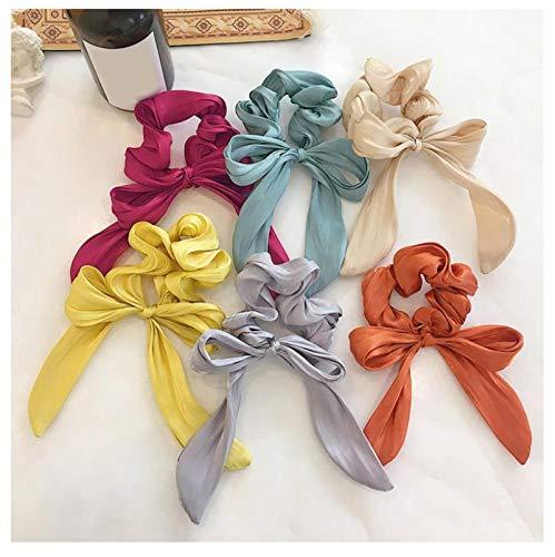 6 unids Color brillante ondulado serpentinas anillo de pelo anudado arco coletero elástico para mujeres niñas dulce cola de caballo Accesorios para el cabello