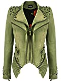 chouyatou Women's Fashion Studded Perfectly Shaping Faux Leather Biker Jacket (XX-Large, Denim-Green)