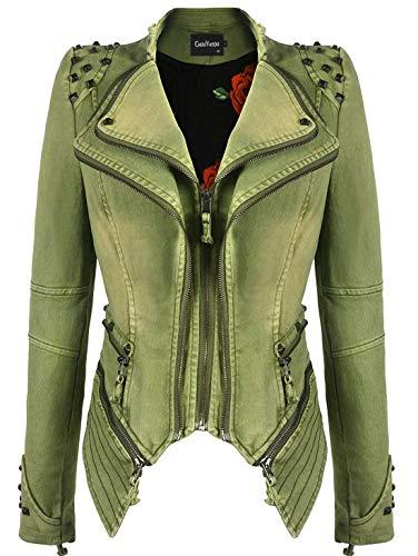 chouyatou Women's Fashion Studded Perfectly Shaping Faux Leather Biker Jacket (X-Large, Denim-Green)
