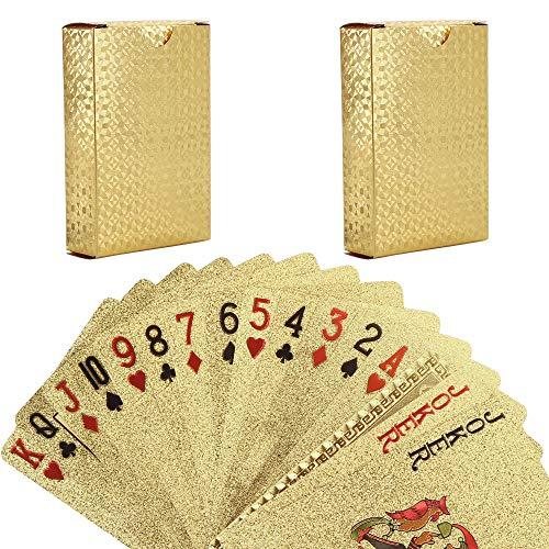 Carte da Gioco, 2 PCS Carte da Poker, Carte da Gioco Oro Carta da Gioco Impermeabile Plastica Pet Carta da Poker Strumenti di Gioco per Gioco di Carte Familiari di Festa, Carte da Poker Professionali
