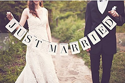 Bannière décorative avec lettrage rectangle Inscription Just Married