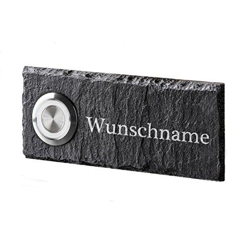 polar-effekt Personalisierte Türklingel aus Schiefer - 100x40 mm Klingelschild mit Gravur - Klingelknopf Weiss - Klingelplatte Geschenk zum Einzug [mit Silikon]