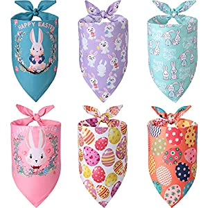Weewooday 6 Pieces Easter Dog Bandana, Colorful Bunny Eggs Pet Bandana, Adjustable Rabbit Triangle Bibs Washable Pet Kerchief Dog Scarf for Small to Large Dogs and Cat