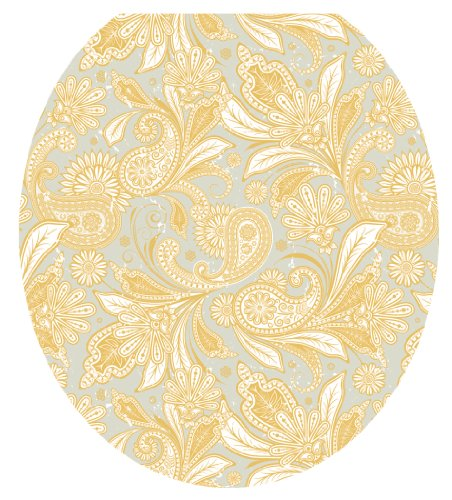 Toilet Tattoos, Toilet Seat Cover Decal,Antique Gold Paisley, Size Round/standard