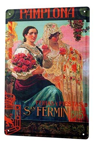 DGBELL Art Metropole Spain Pamplona Navarra Decor Cartel de Chapa Retro Vintage Placa de Hierro Pintura Aviso de Advertencia Cartel Retro Cafe Bar película