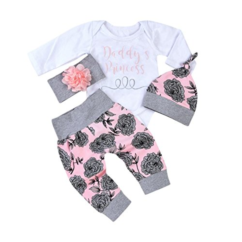 good01 - Pelele con estampado de letras dulces para bebé, diseño de flores, gorro y diadema (4 unidades)