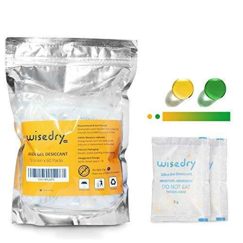 wisedry 5 Gramos x 60 Paquetes Gel De Sílice Desecante bolsitas con Perlas de Naranja Indicador de Humedad Absorbe Humedad para Secador,Deshumidificador de Grado alimenticio