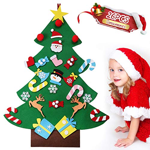 GeeRic DIY Felt Christmas Tree with 26pcs Ornaments for Kids New Year Handmade Christmas Door Wall Hanging Decorations