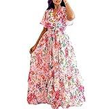 HD Woman's V Neck Chiffon Flouncing Dress Elastic Waist Wrap Maxi Dress Short Sleeves 2XL