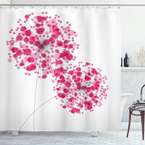 ABAKUHAUS Rosado Cortina de Baño, Resumen Diente de león Ilustraciones, Material Resistente al Agua Durable Estampa Digital, 175 x 180 cm, Perlas de Color Rosa