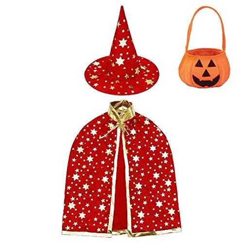 Jackcell Disfraz de Halloween para niños, capa de bruja con sombrero, bolsa de caramelos, abrigo de mago con accesorios para niños y niñas, cosplay (rojo)