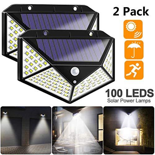 Solarleuchte für Außen 100 LED, [2 Stück] Auccy Solarlampe Außen Superhelle Solarleuchte mit Bewegungsmelder 3 Modi Wasserdichte Wandleuchte Garten, Patio, Deck, Hof