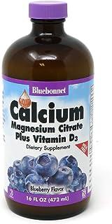 Bluebonnet Nutrition Liquid Calcium Citrate Magnesium Citrate, Vitamin D3, Bone Health, Gluten Free, Soy free, milk free, kosher,32 Servings, Blueberry Flavor, 16 Fl Oz (Pack of 1)
