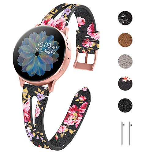 Tensea Leather Band Replacement for Samsung Galaxy Watch 3 41mm / Active 2 44mm / 40mm Band and Galaxy Watch 42mm Band, Women Men Soft and Slim Leather Strap Compatible with Galaxy Watch (Pink flower)