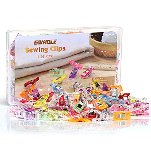 GWHOLE 108 Stück Stoffklammern Nähen Zubehöre Kunststoff 6 Farben, 27 * 10mm