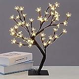 Creativa lámpara de escritorio con 48 LED USB, diseño de flor de cerezo, multicolor, bonsái, árbol, luz nocturna, para interior o fiesta, boda, decoración, luz blanca cálida, 220 V, enchufe europeo
