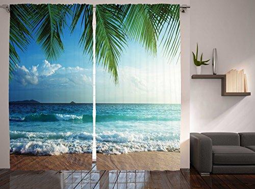 Ambesonne Ocean Curtains, Palms Tropical Island Beach Seashore Water Waves Hawaiian Nautical Marine, Living Room Bedroom Window Drapes 2 Panel Set, 108' X 84', Blue Green