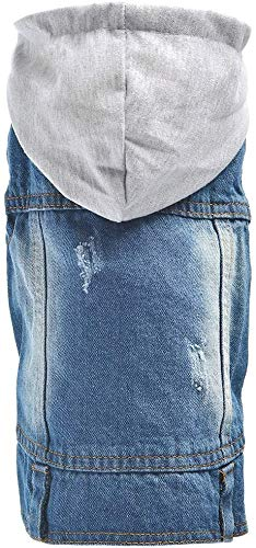 Companet Pet Clothes Dog Jeans Jacket Cool Blue Denim Coat Small Medium Dogs Cats Lapel Vests Classic Puppy Blue Vintage Washed Clothes Hoodie Vest